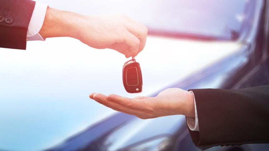 Man Leasing A Vehicle Stock Photo