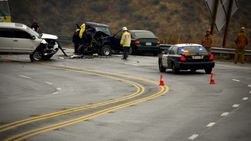 Auto Accident On A Curvy Mountain Road Stock Photo