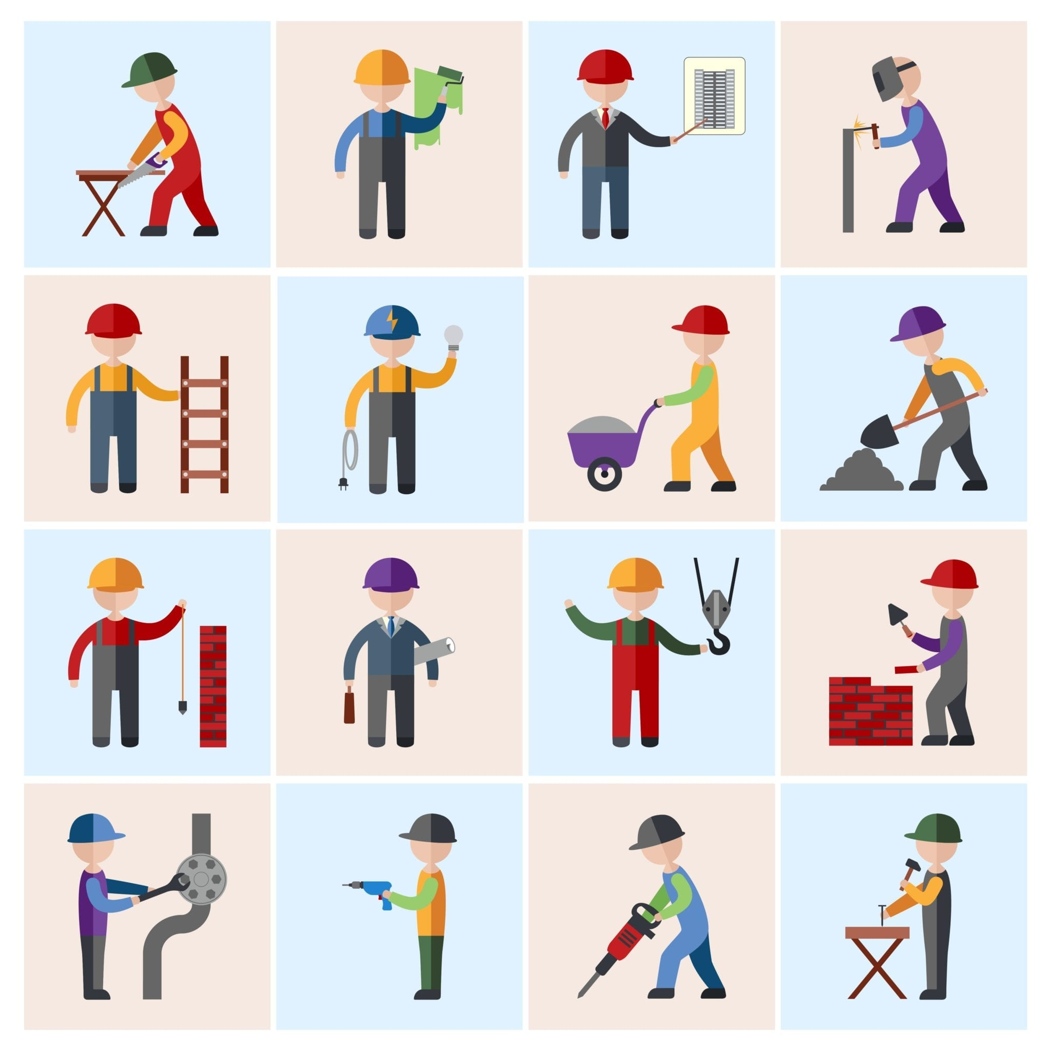 Animated Blue Collar Jobs Stock Photo