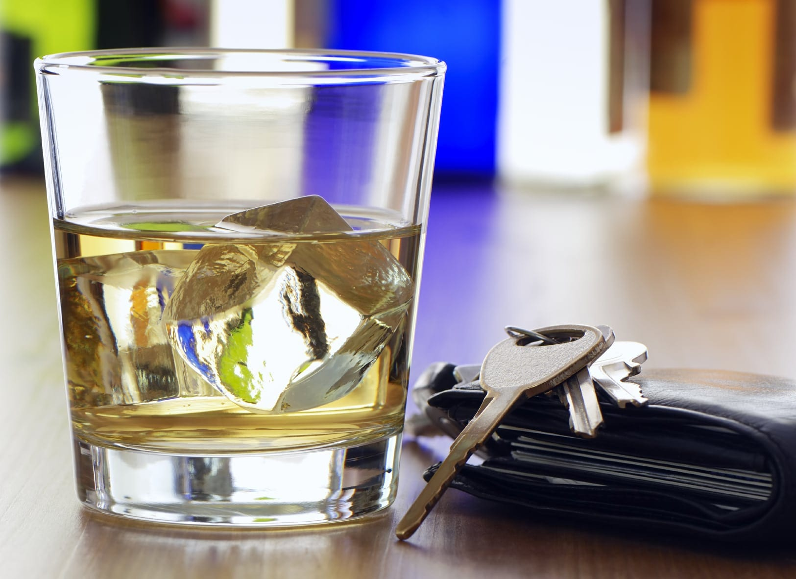 Glass of Alcohol With Car Keys Stock Photo