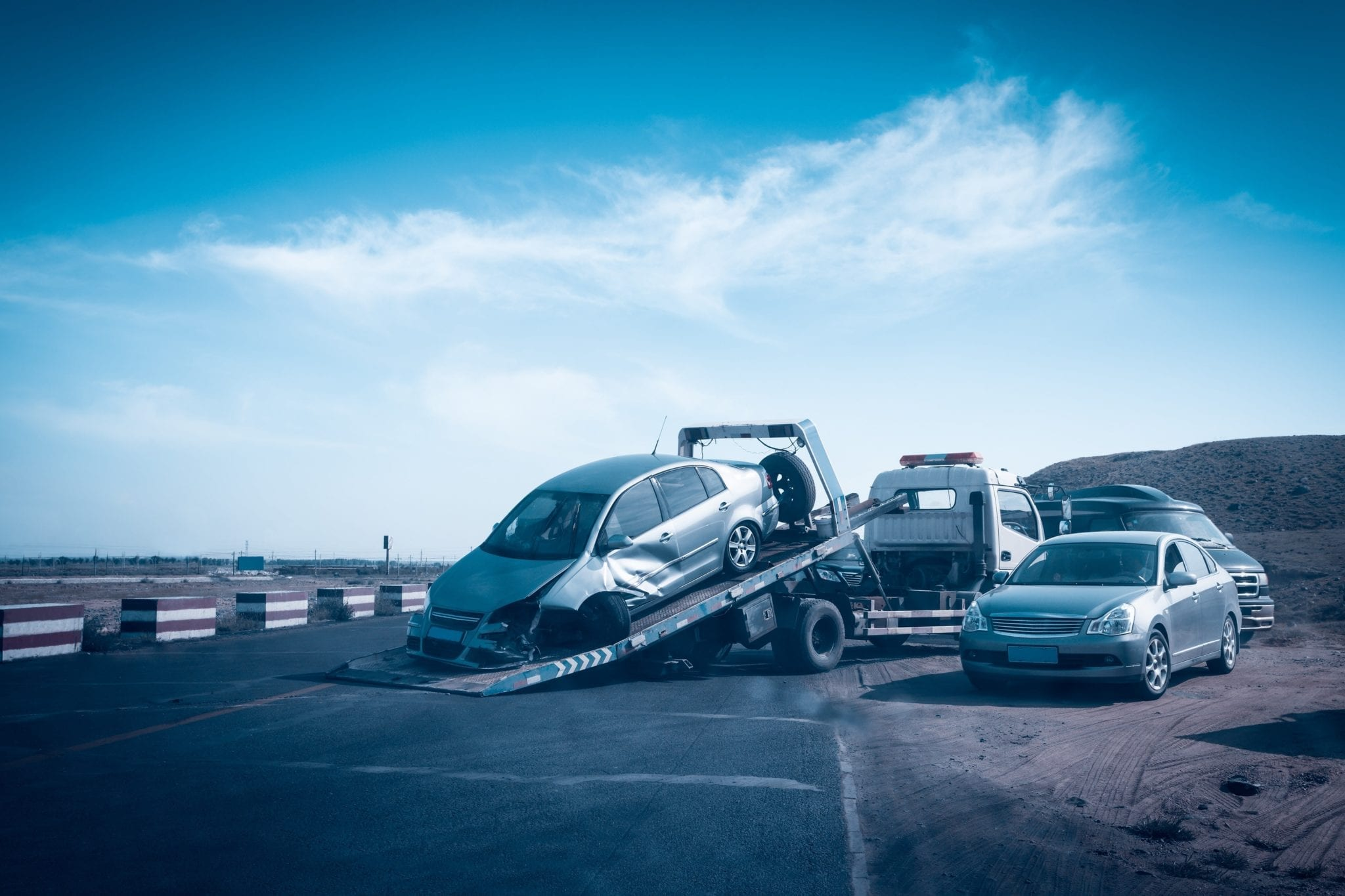 Car Being Towed Away After An Auto Accident Stock Photo