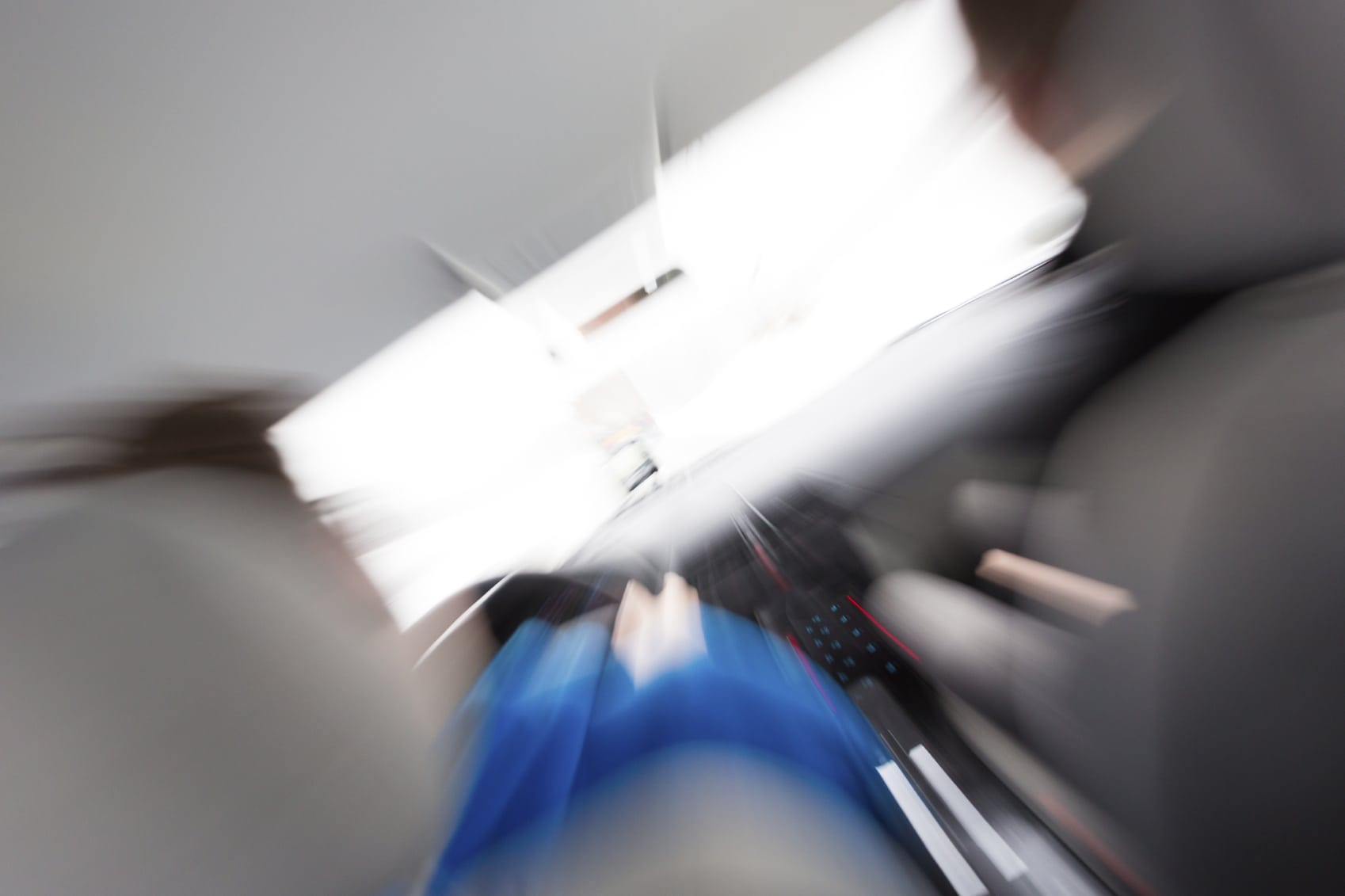 Interior View Of A Speeding Vehicle Stock Photo