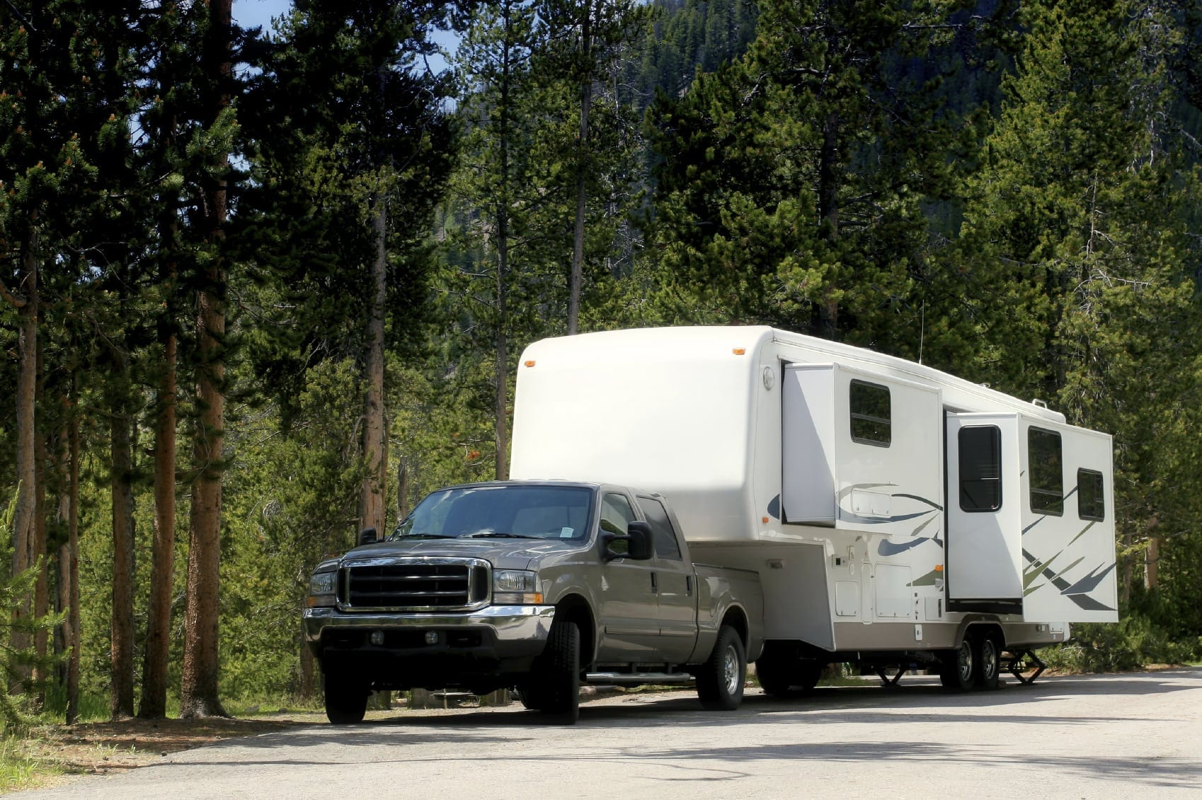 Pickup Truck Pulling An RV Trailer Stock Photo