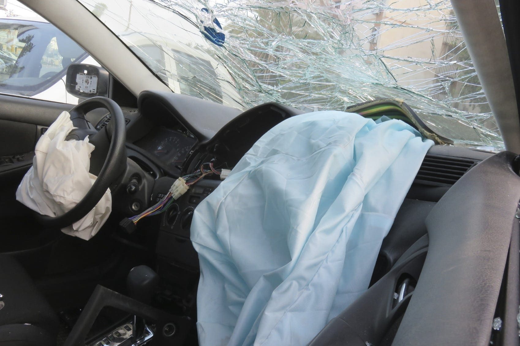 Broken Windshield Following Car Accident Stock Photo