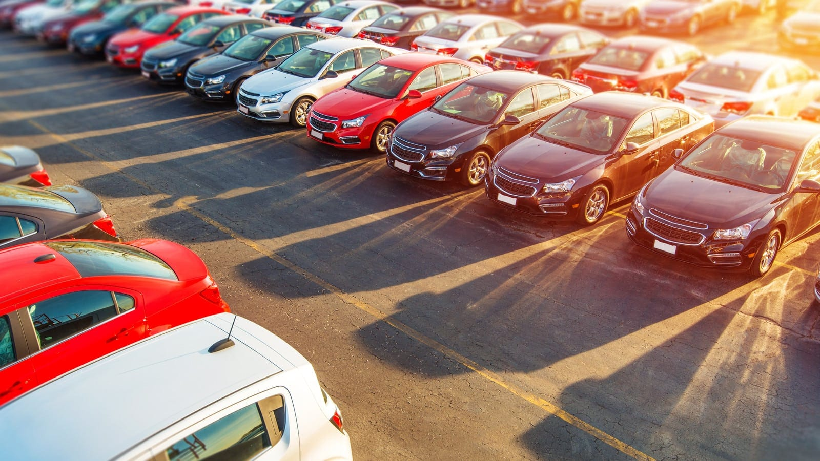 Aerial Photo Of A Large Car Lot Stock Photo