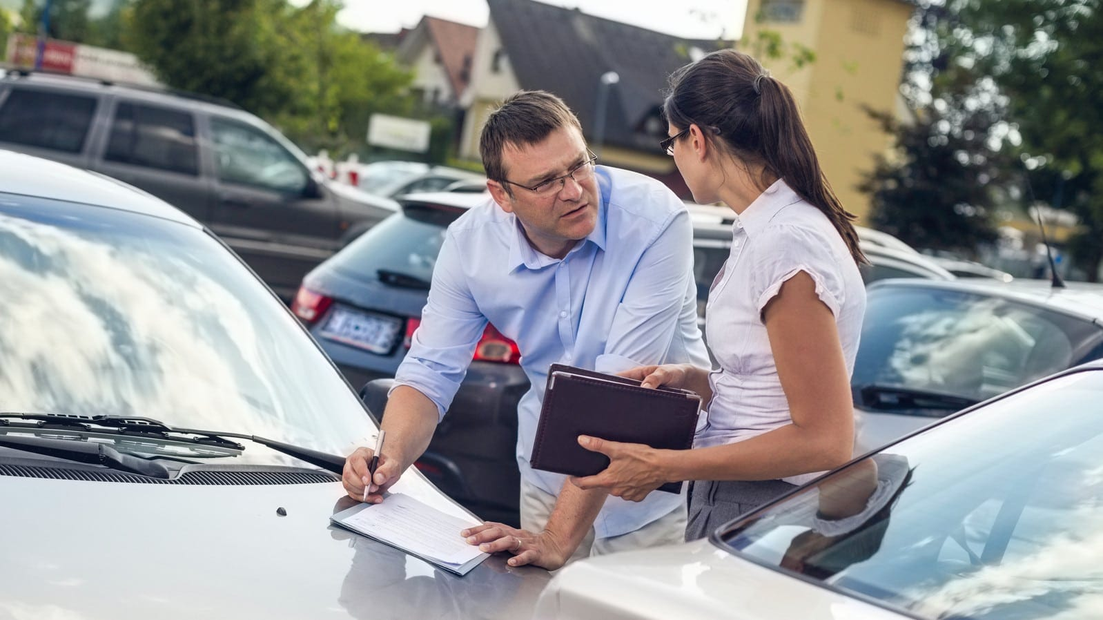 Exchanging Information After Car Accident Stock Photo
