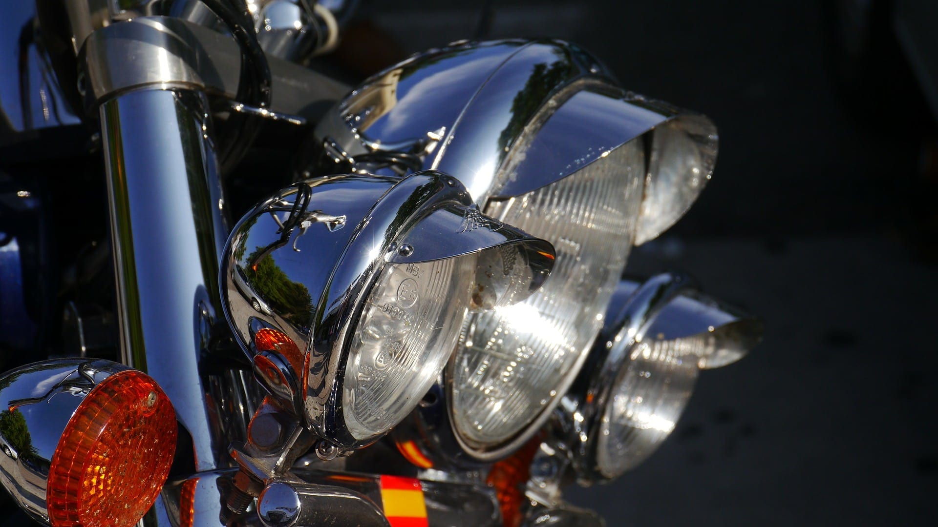 Motorcycle Headlights Stock Photo