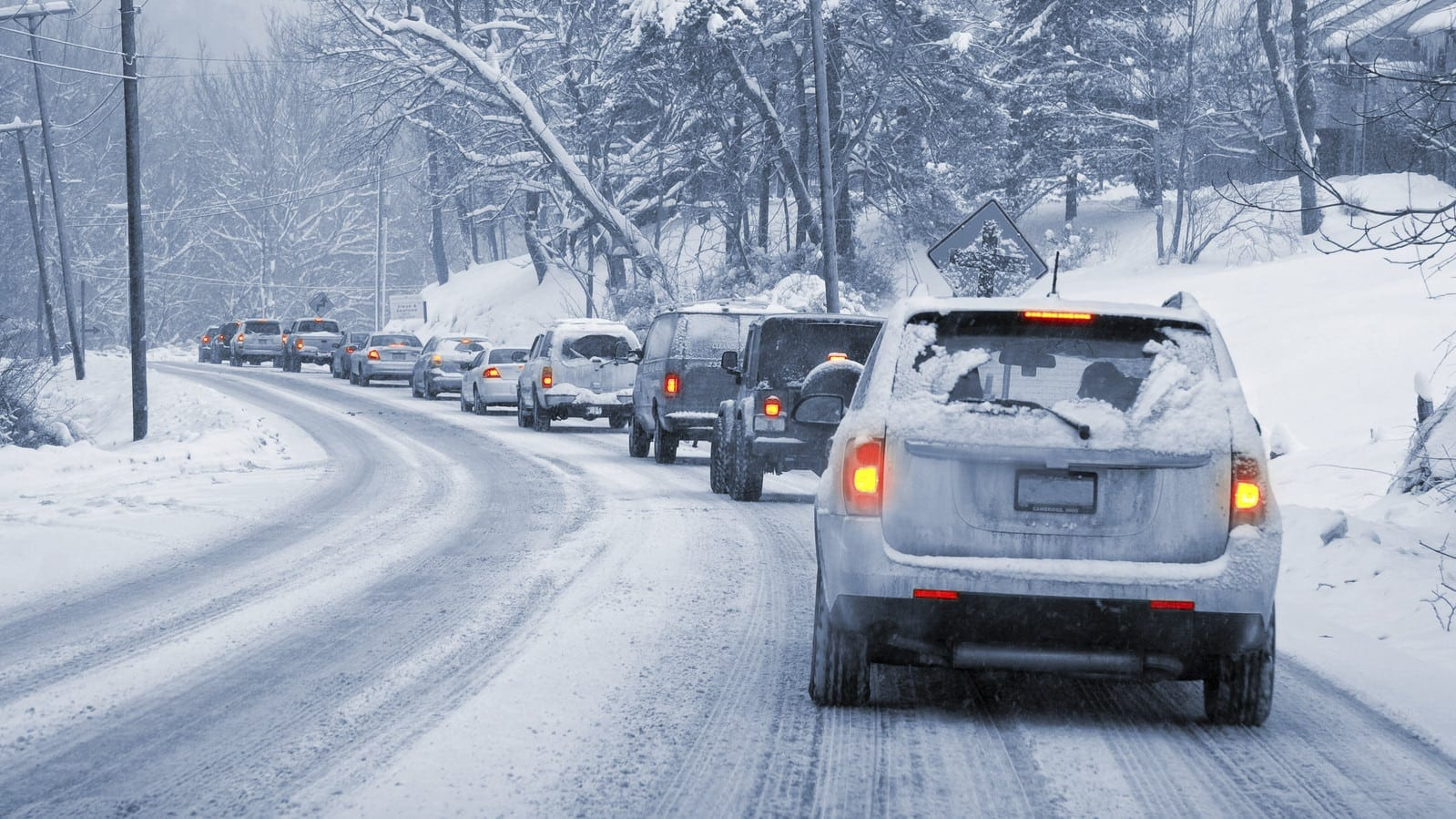 Traffic Jam On An Icy Road Stock Photo