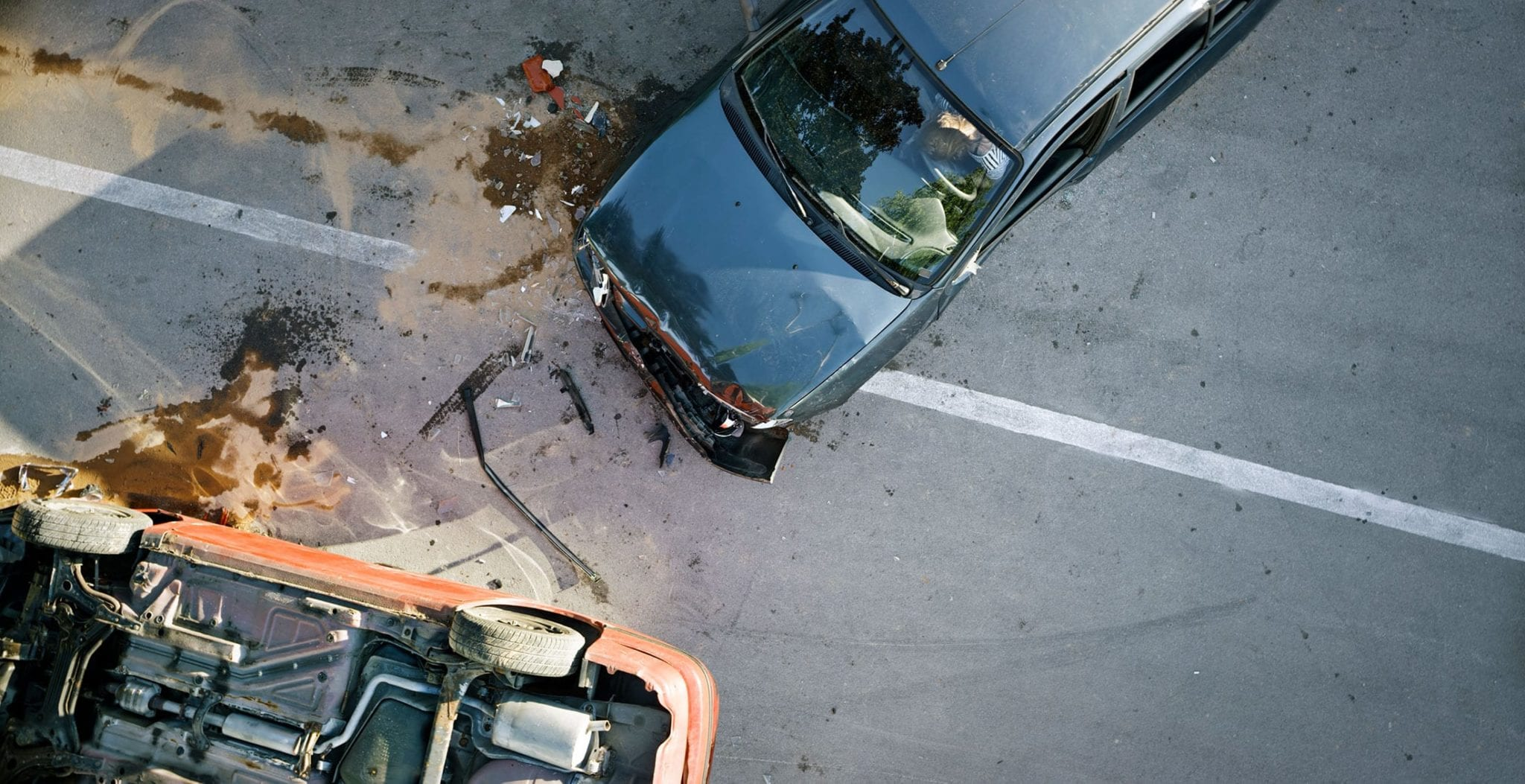 Overhead Photo Of A Violent Car Accident