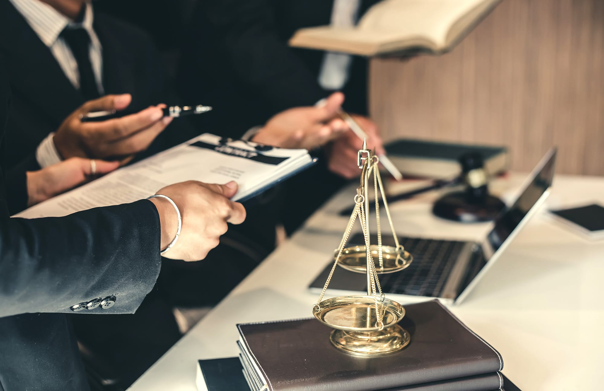 Lawyers discussing product liability law