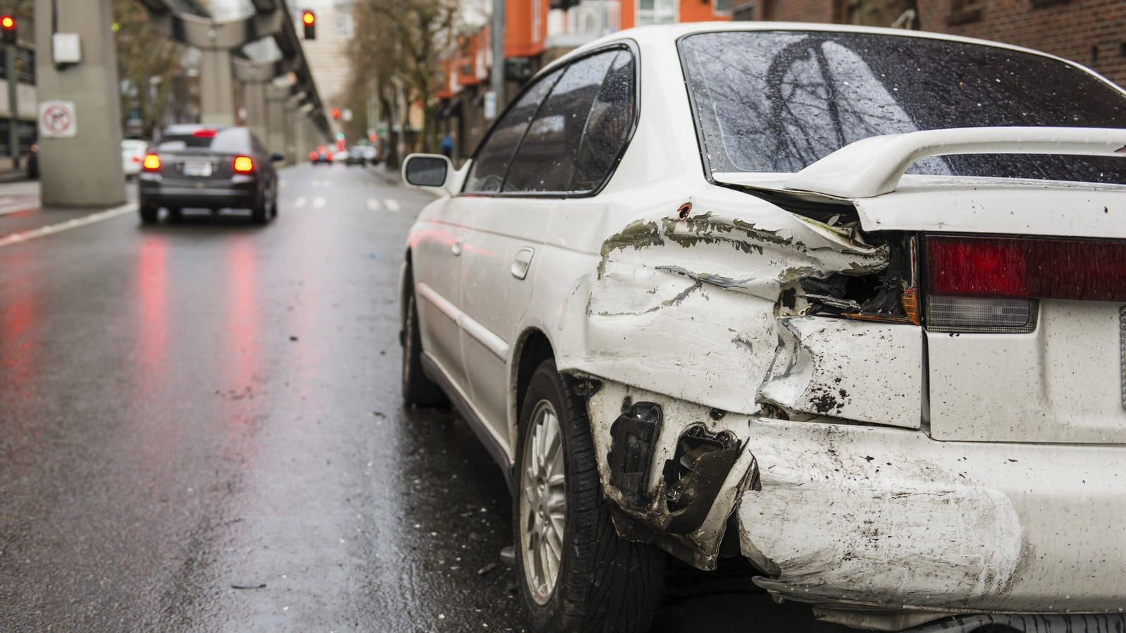 Hit and Run Car Accident Aftermath Stock Photo
