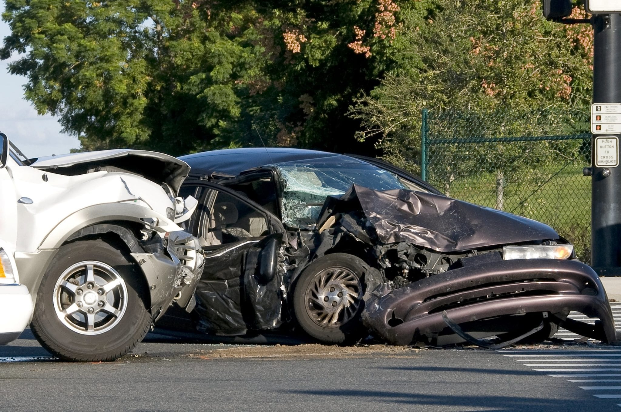 Side Impact Car Accident Stock Photo