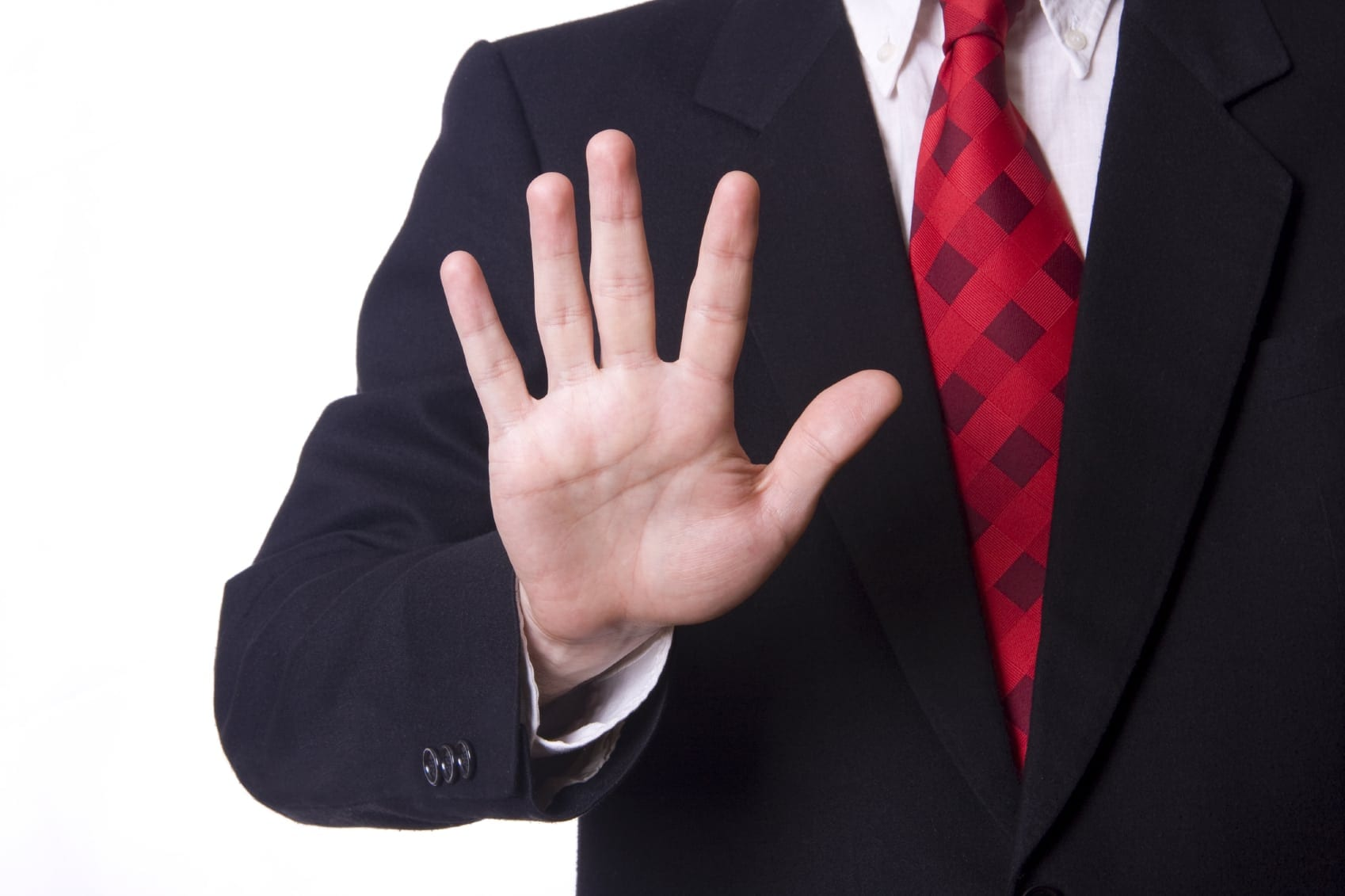 Lawyer Holding Up Five Fingers Stock Photo