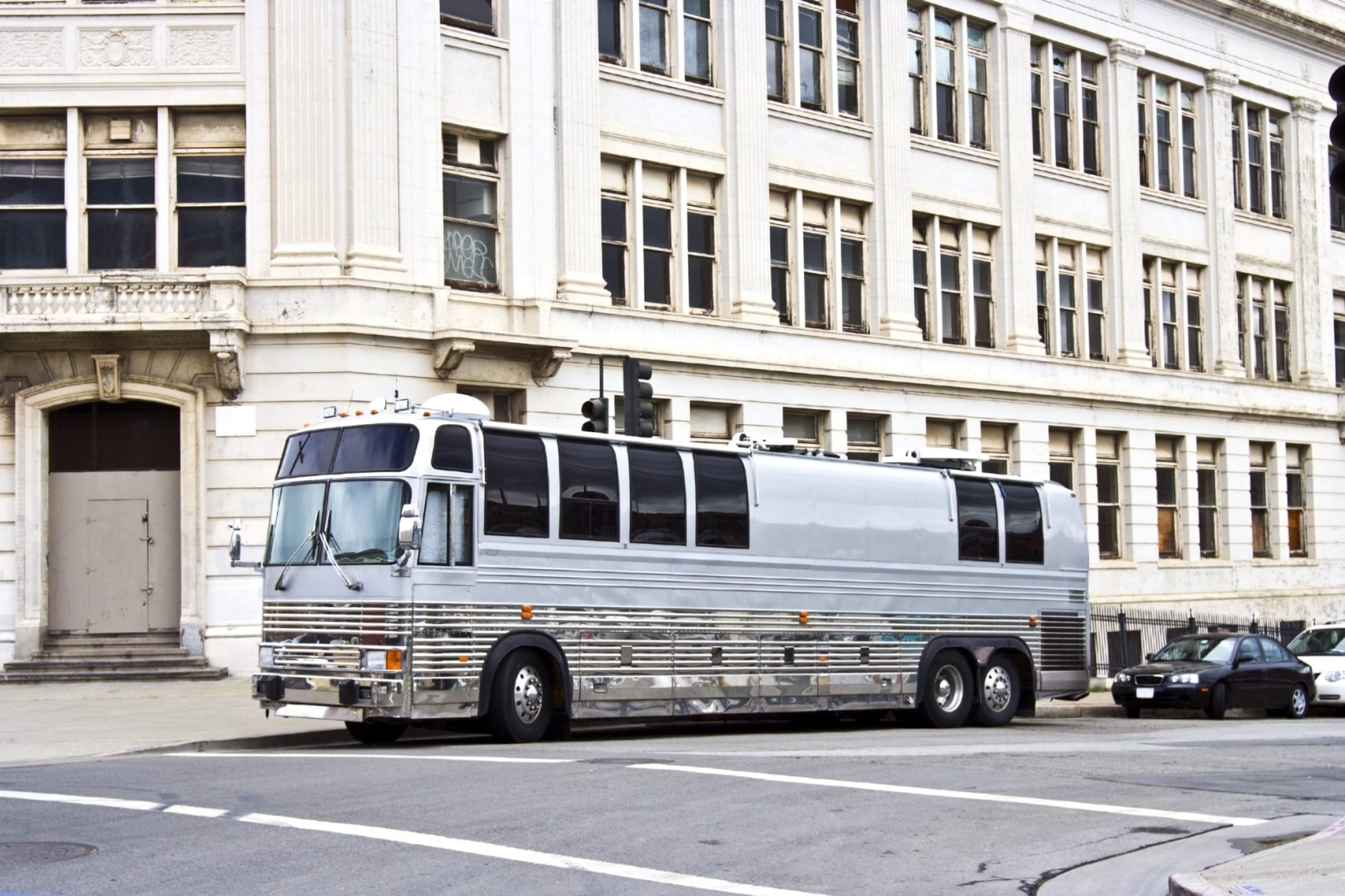 Parked Tour Bus Stock Photo