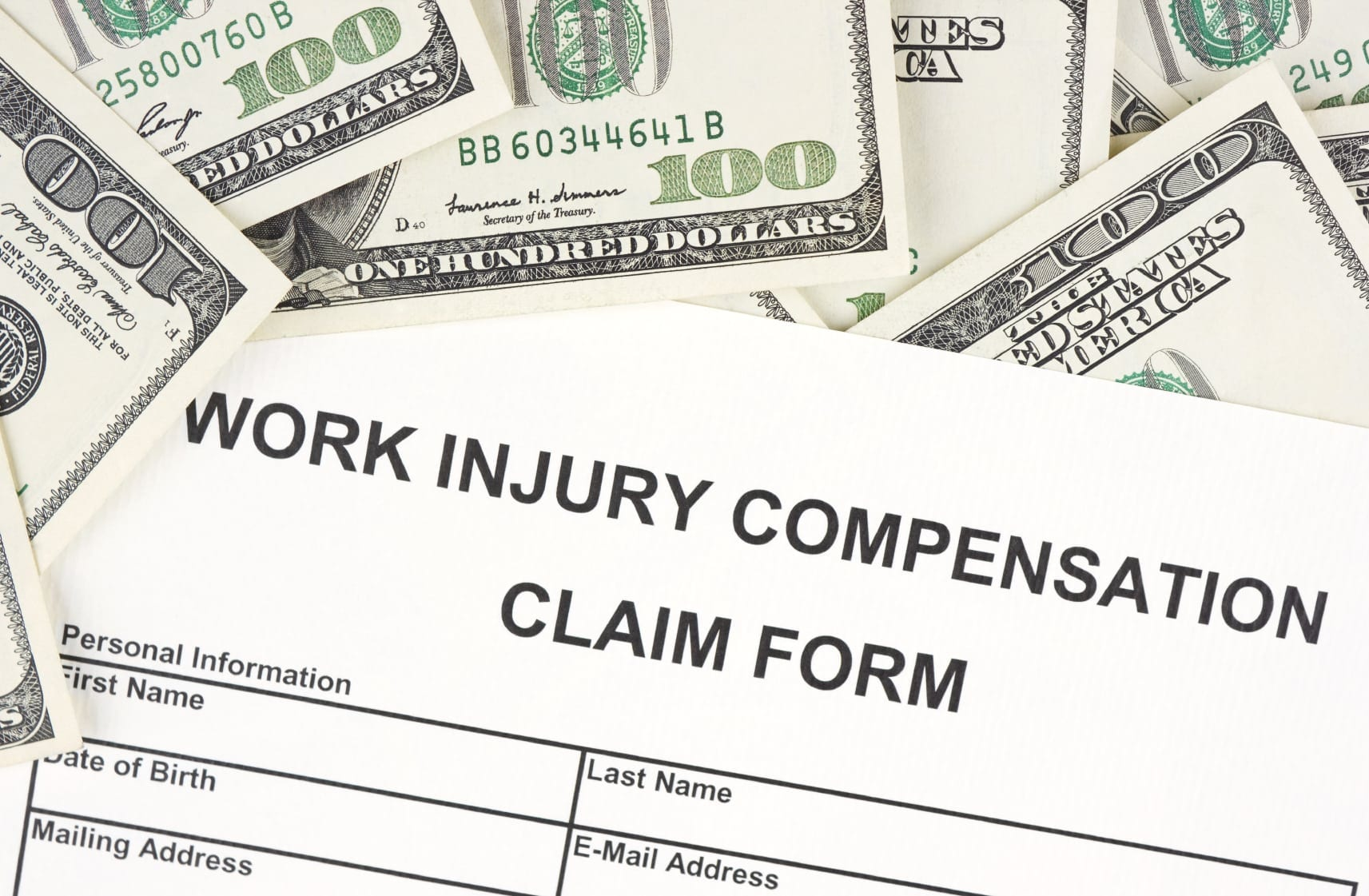Blank Work Injury Compensation Claim Form Stock Photo