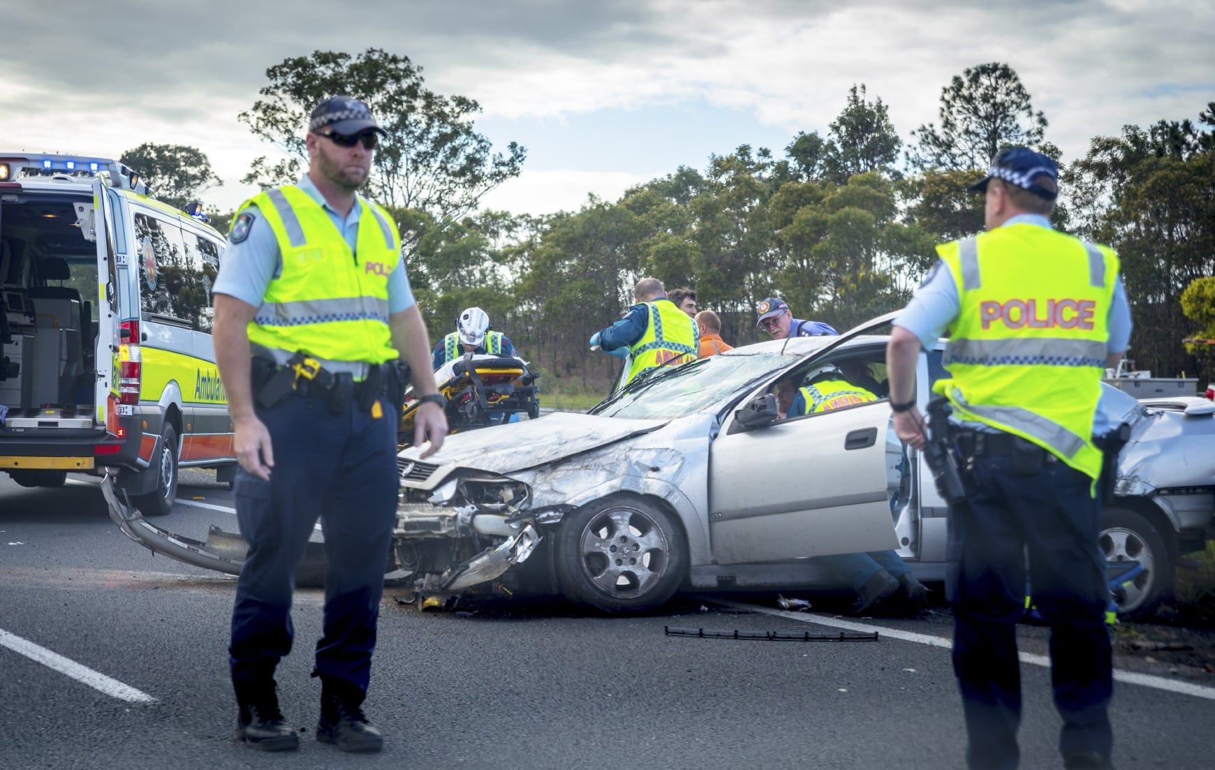 Auto Accident On The Highway Stock Photo