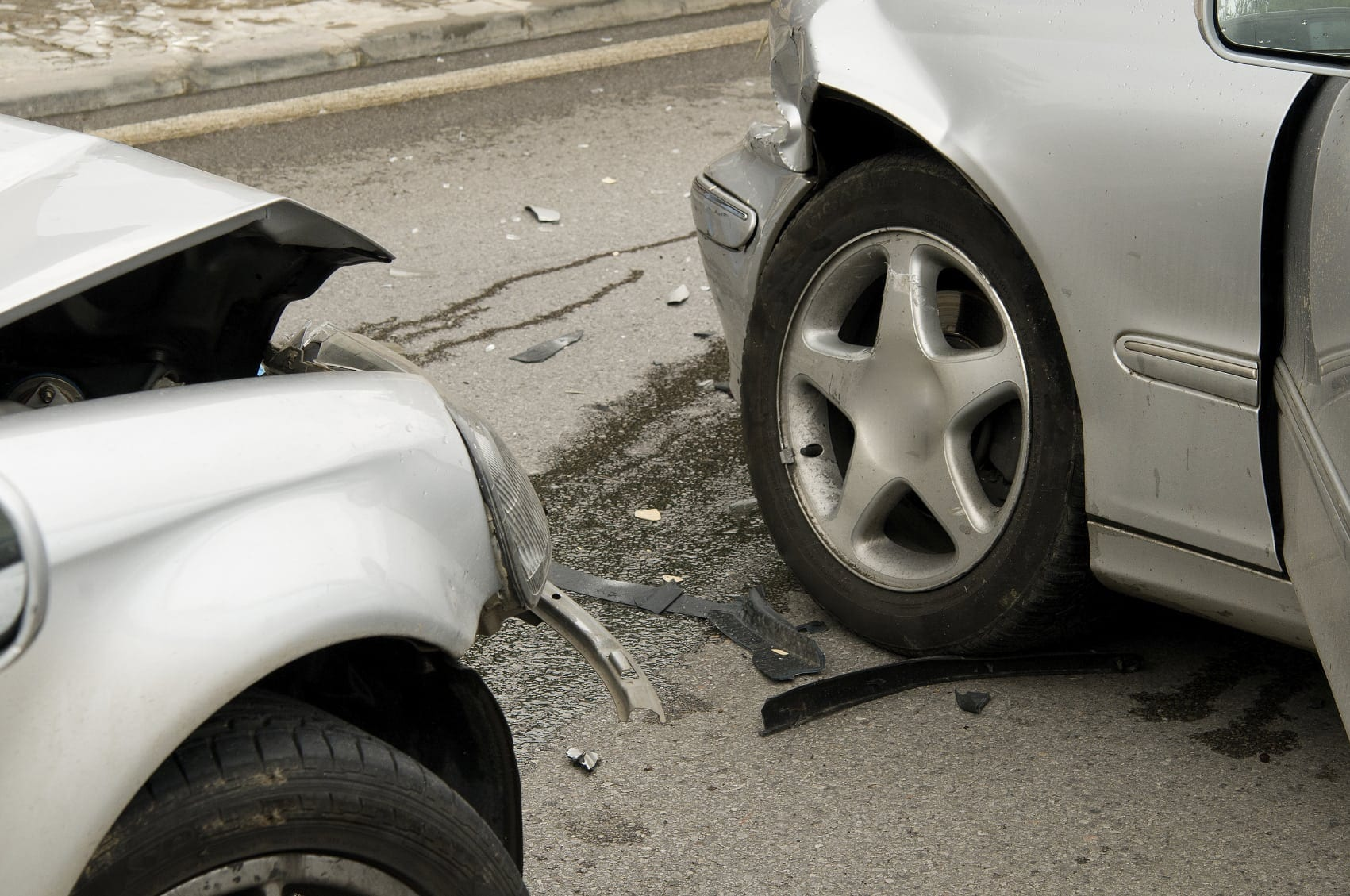 Car Accident Between Two Silver Cars Stock Photo