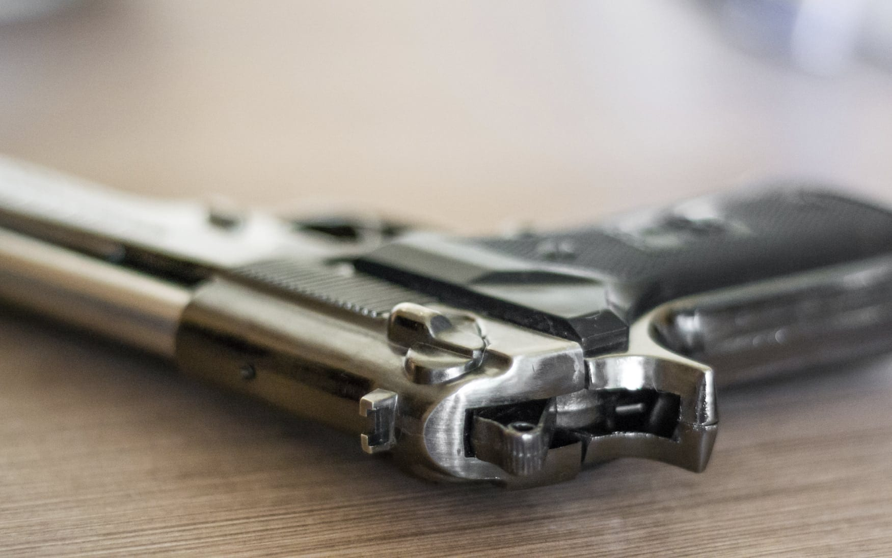 Revolver Laying On A Table Stock Photo