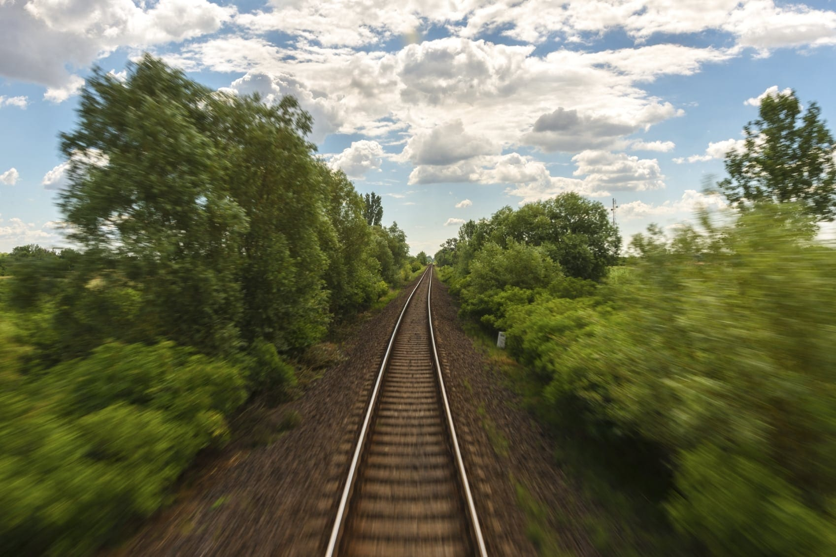 Railroad Tracks In A Rural Area Stock Photo