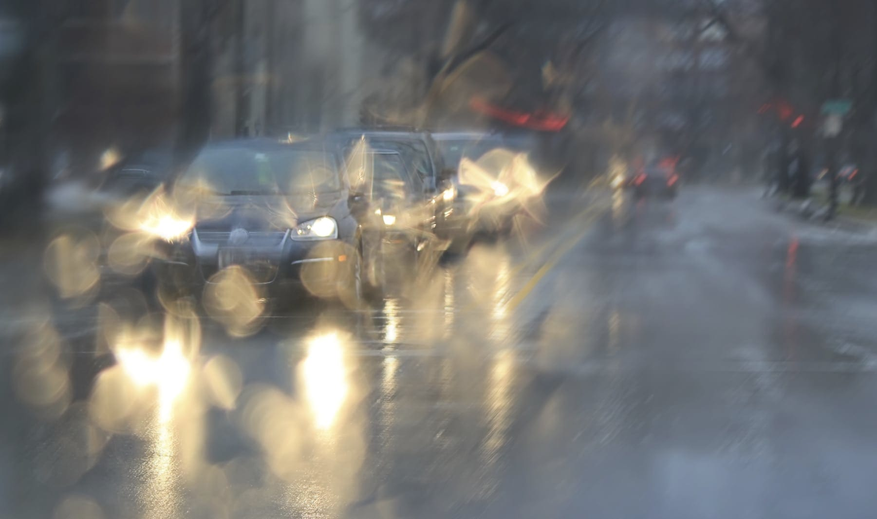Traffic Jam In Rainy Weather Stock Photo