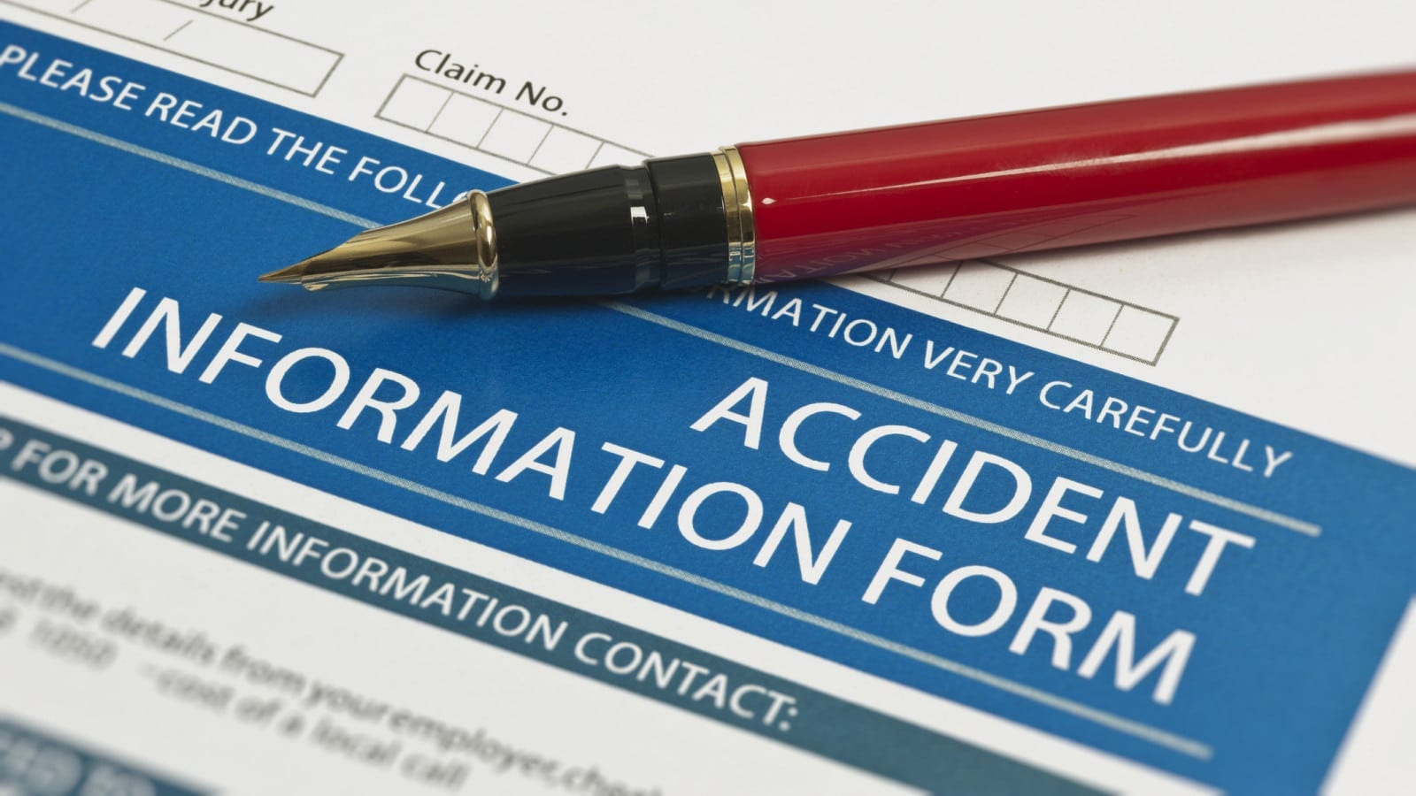 Blank Accident Information Form Stock Photo