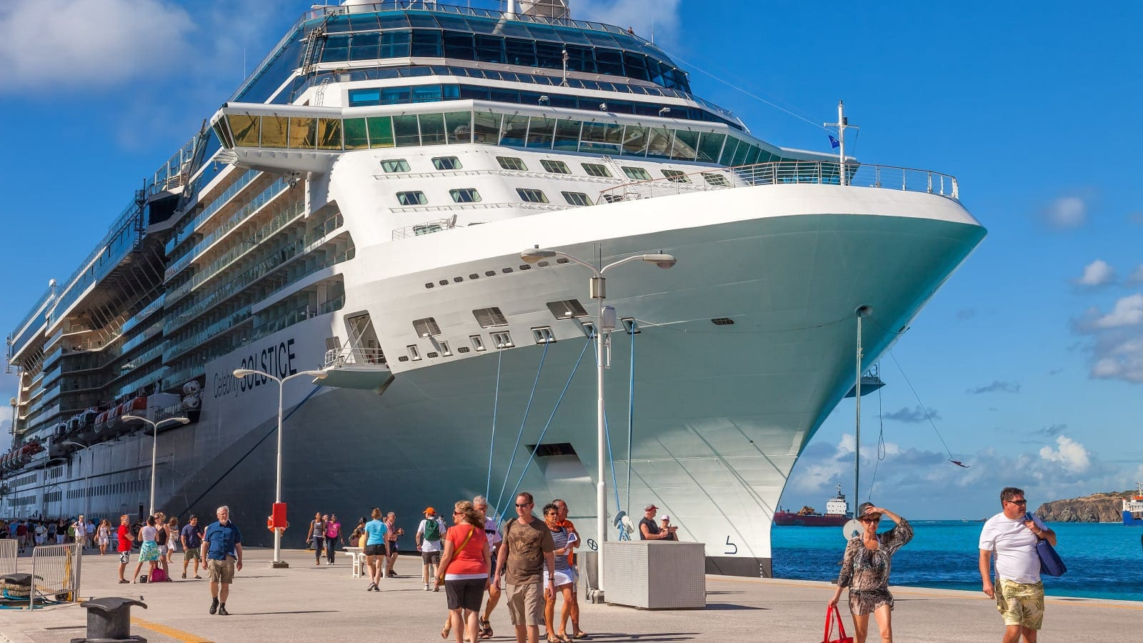 Large Cruise Ship Docked At A Port Stock Photo