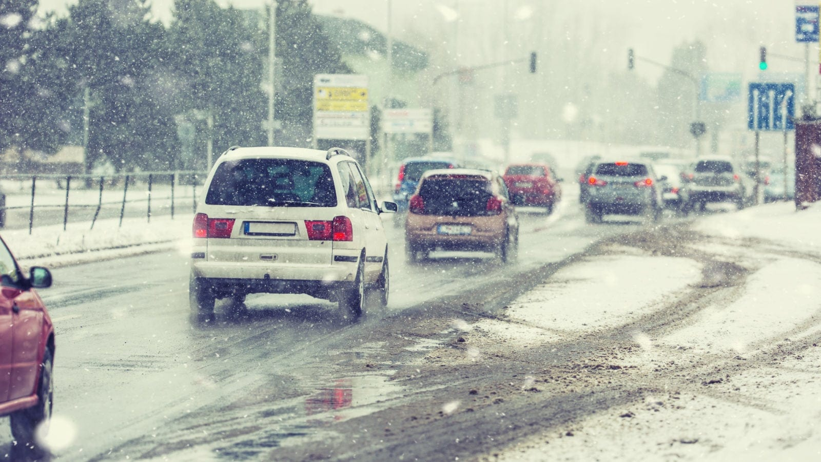 Traffic Jam On A Snowy Road Stock Photo