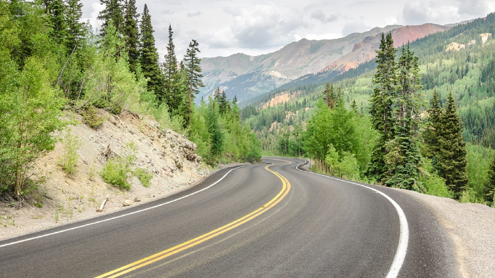 Dangerous Winding Mountain Road In Colorado Stock Photo