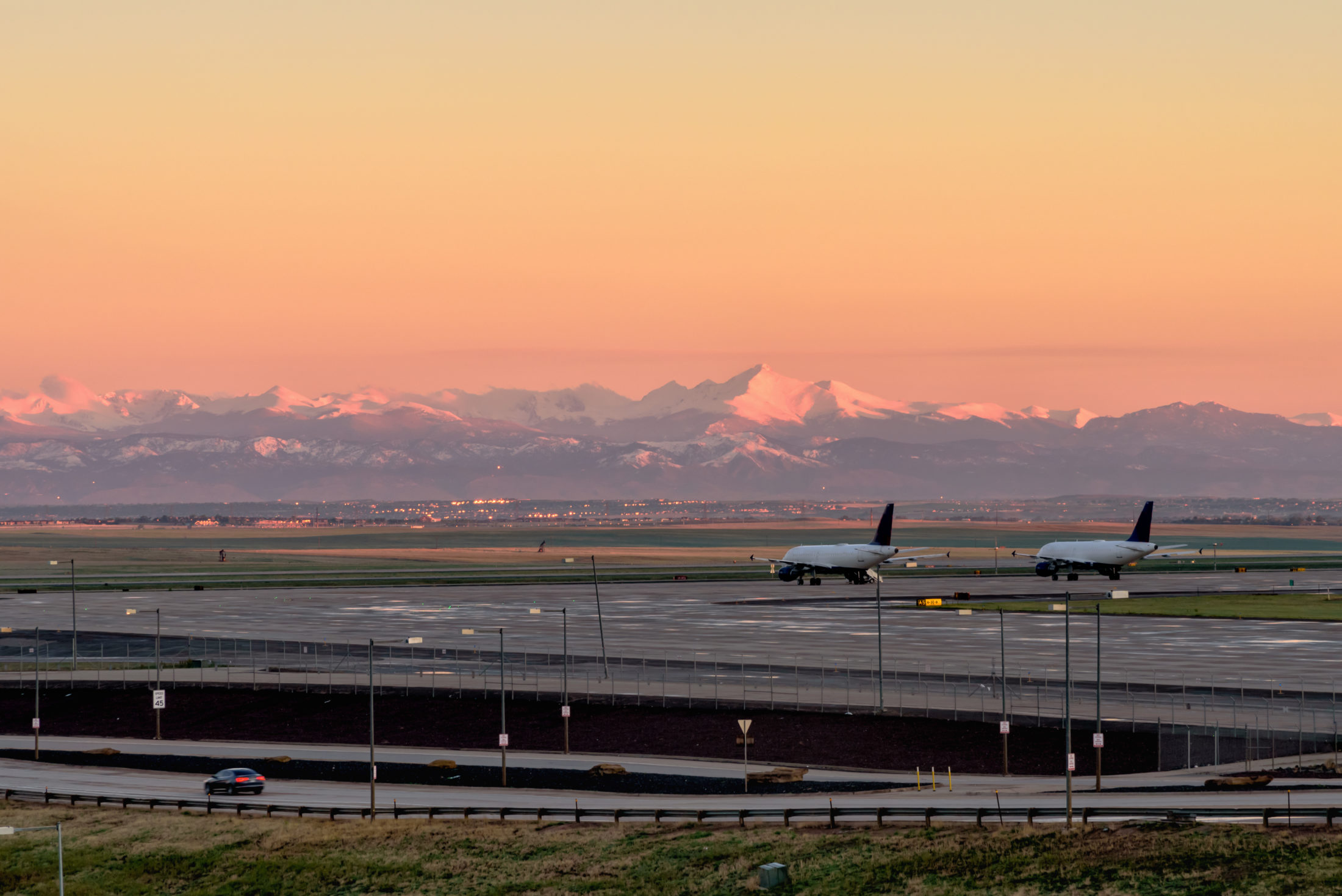 Denver International Airport at sunrise, Denver Colorado, USA,