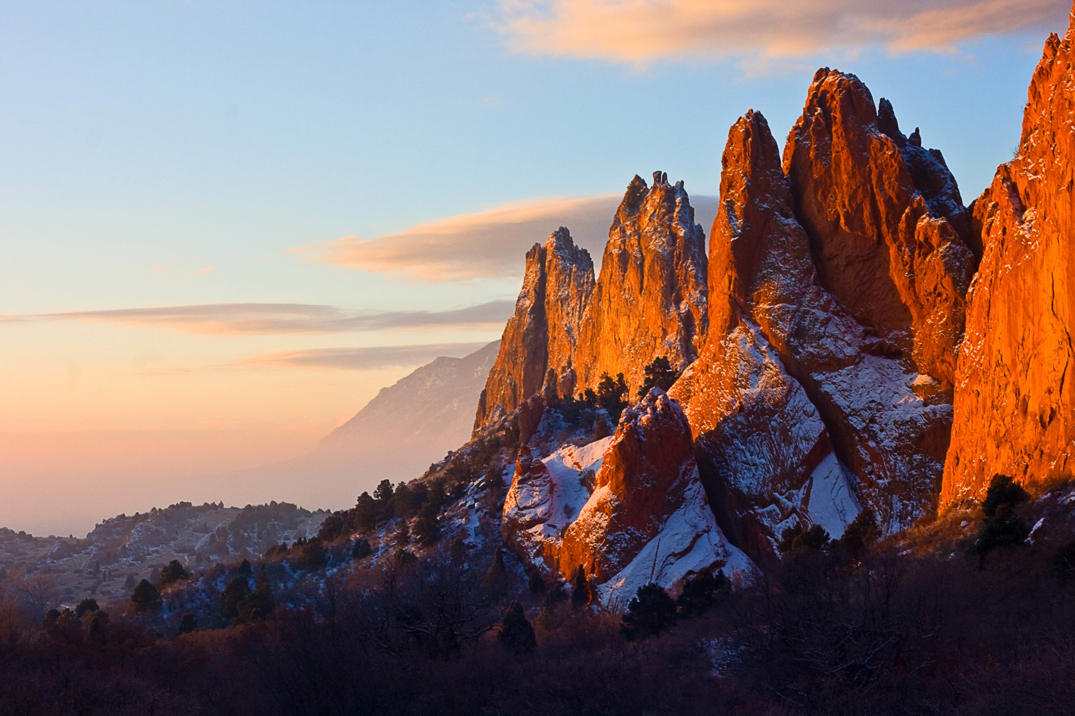 Garden of the Gods after a dusting of snow at sunrise
