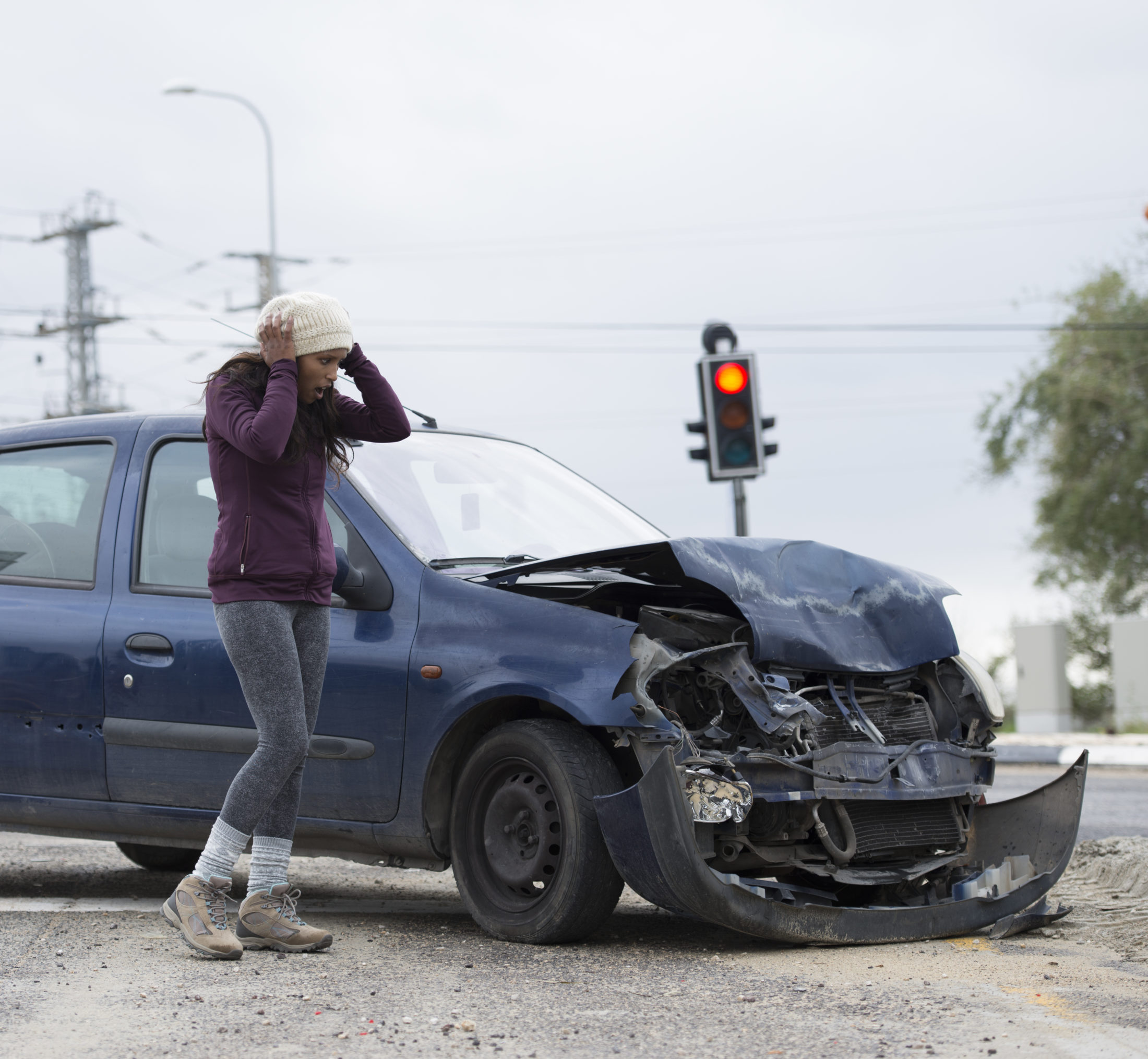 woman upset after a car accident in Colorado