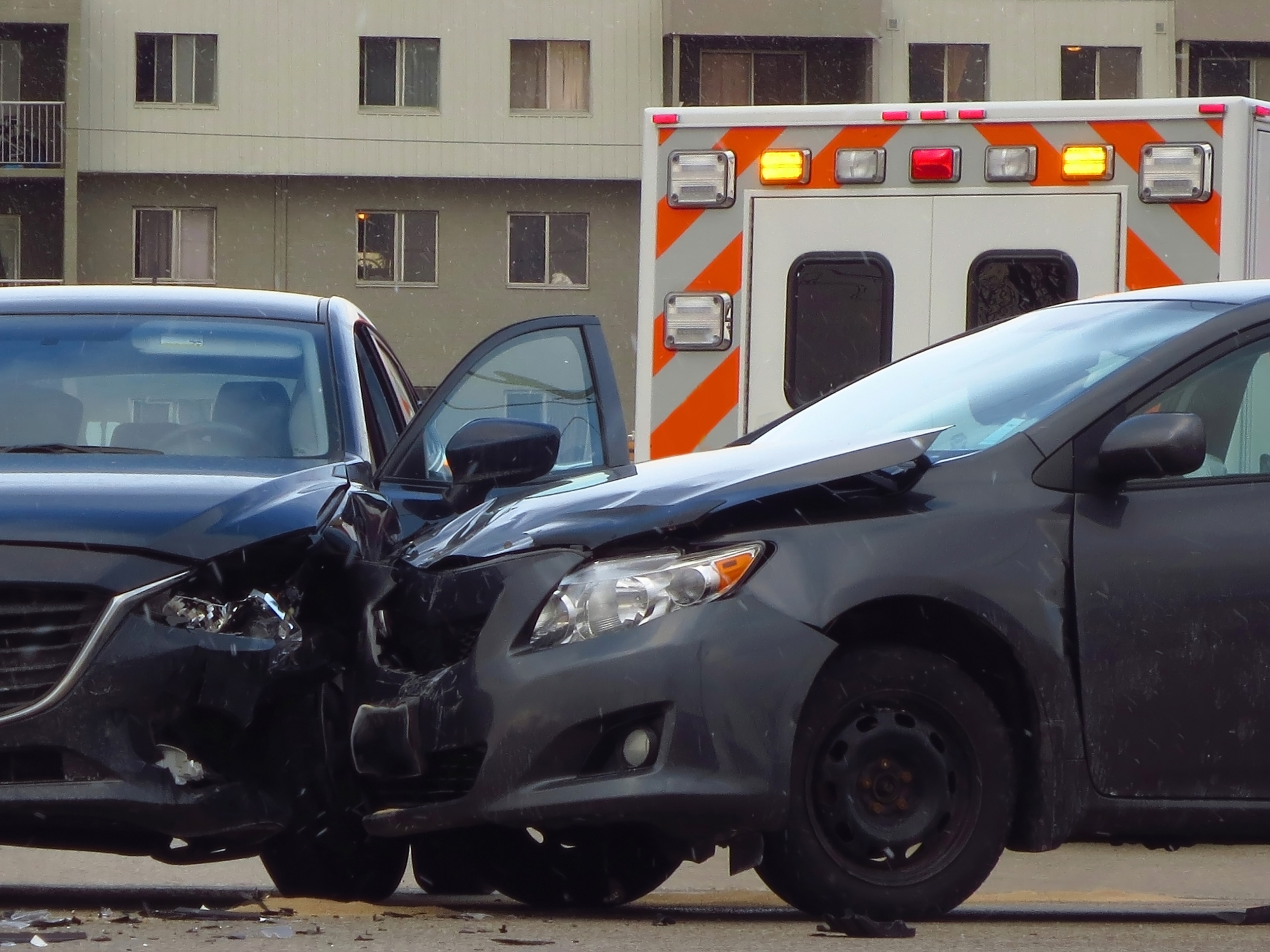 The scene of a car accident on the road in Colorado Springs.